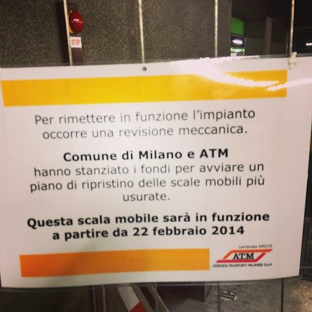 Perché il comune di Milano paga per il ripristino delle scale mobili atm?
